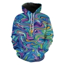 Unique Funny Colorful Wave 3D Printed Casual Loose Pullover Hoodie