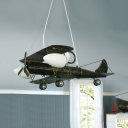 Child Bedroom Airplane Pendant Light Glass Metal Vintage Style Hanging Light with Mini Pulley