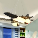 Cool Black Pendant Light Military Airplane Metal Suspension Light with Mini Pulley for Boys Bedroom