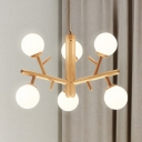 Asian Style Ceiling Pendant 3/6 Lights Wood Glass Chandelier in Beige for Restaurant Bedroom