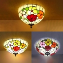 Stained Glass Floral Theme Ceiling Mount Light Living room Antique Style Flush Light in White