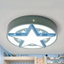 Contemporary Blue LED Flushmount Light Stars Metal Stepless Dimming/Warm/White Ceiling Lamp for Boys Bedroom