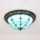 Antique Style Bowl Ceiling Mount Light Art Glass Blue Ceiling Lamp with Leaf for Hallway Stair