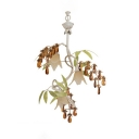 White Flower Pendant Light with Leaf Crystal 3 Heads Rustic Style Metal Chandelier for Restaurant