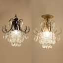 Single Bulb Small Chandelier with Clear Crystal Traditional Wrought Iron Hanging Lamp in Black/Gold for Foyer
