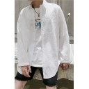 Summer Basic Simple Plain White Long Sleeve Casual Loose Breathable UV Protection Shirt