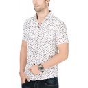 Mens Fashion Pattern Short Sleeve Button Front Slim Fitted Shirt