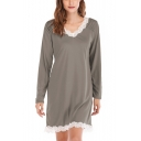 Womens New Trendy Chic Lace Trimmed V-Neck Long Sleeve Plain Casual Mini Dress