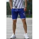 Men's Popular Graphic Printed Drawstring Waist Running Sport Shorts