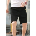 Street Style Letter Printed Men's Fashion Black Cotton Sweat Shorts