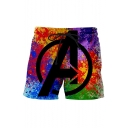 Hot Fashion Letter A Logo Printed Drawstring Waist Multi-colored Quick-Drying Beach Shorts Swim Trunks