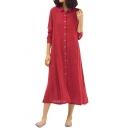 Womens Simple Plain Long Sleeve Split Side Button Down Comfort Linen Maxi Shirt Dress