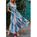 Summer Fancy Blue Floral Printed Tied Plunged Neck Short Sleeve Maxi Ruffled Beach Dress