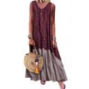 Womens Summer Fashion Boho Style Floral Printed V-Neck Sleeveless Maxi Linen Swing Tank Dress