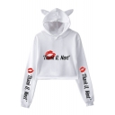 Sexy Red Lip Letter THANK U NEXT Cute Cat Ear Long Sleeve Casual Crop Hoodie