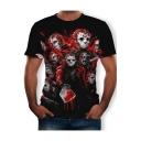 Blood Skull Empire Pattern Round Neck Short Sleeve Black T-Shirt