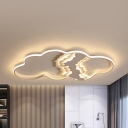 Modern Abstract Shaped Ceiling Mount Light Metal White LED Flush Light with Warm/White Lighting for Kid Bedroom