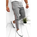 Stylish Pinstripe Pattern Drawstring Waist Men's Fashion Lounge Pants Sweatpants