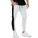 Fashion Contrast Patched Drawstring Patched Cotton Skinny-fit Sport Joggers Pencil Pants