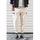 Men's New Fashion Logo Patchwork Flap Pocket Side Drawstring Waist Elastic Cuffs Leisure Cargo Pants