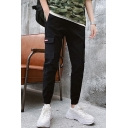Men's New Fashion Double Flap Pocket Side Elastic Cuffs Simple Plain Black Cargo Pants