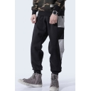 New Fashion Color Block Drawstring Waist Guys Casual Loose Sports Joggers Cotton Sweatpants