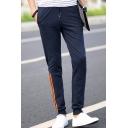 Men's Fashion Classic Contrast Stripe Patched Drawstring Waist Cotton Sweatpants