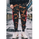 Men's New Fashion Cool Camouflage Printed Letter Tape Patched Elastic Cuffs Cotton Casual Track Pants