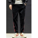 Men's New Fashion Classic Contrast Striped Side Drawstring Waist Corduroy Casual Track Pants