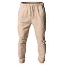 Men's Summer Fashion Flap Pocket Simple Plain Drawstring Waist Casual Cargo Pants