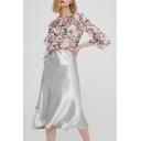 Womens Summer Hot Fashion Plain Metallic Color Satin Midi Flared Skirt