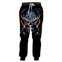 Cool Fashion 3D Skull Printed Drawstring Waist Black Casual Joggers Sweatpants
