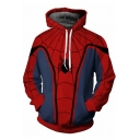 Trendy Blue and Red Spider 3D Printed Long Sleeve Comic Unisex Hoodie