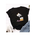 Funny Cartoon Cat Pattern Basic Round Neck Short Sleeve Loose Fitted Cotton T-Shirt
