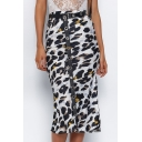 Women's Sexy Leopard Pattern High Rise Midi Shift Skirt