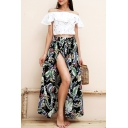 Summer Trendy Tropical Leaf Printed Maxi Holiday Beach Wrap Skirt