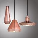 Rose Gold Barn/Cone/Droplet Pendant Light Post Modern Metal Shade 1 Head Suspension Lamp over Dining Table