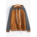 Hot Popular Striped Long Sleeve Womens Regular Fit Sport Loose Hoodie