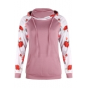 Popular Floral Printed Long Sleeve Womens Fashion Pullover Hoodie