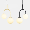 Double Light Orb Shade Hanging Pendant White Glass Drop Light in Black/Gold Finish