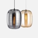 Mirror Glass Barrel Pendant Lamp Contemporary Single Head Hanging Light in Amber/Smoke