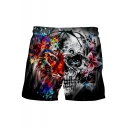 Men's Cool Fashion Skull Animal Printed Drawstring Waist Black Polyester Relaxed Shorts