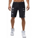 Men's Fashion Badge Patchwork Ripped Detail Zip-fly Slim Fit Denim Shorts
