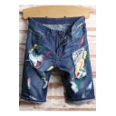 Men's Stylish Letter Patched Printed Destroyed Ripped Detail Blue Zip-fly Denim Shorts