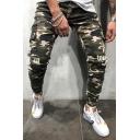 Men's Fashion Popular Camouflage Printed Flap Pocket Stripe Side Stretch Slim Fit Army Green Cargo Jeans