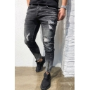 Men's Trendy Street Style Zip Cuffs Black Casual Ripped Skinny Jeans