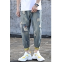 Summer New Fashion Letter Printed Cuffs Men's Light Blue Hip Pop Relaxed Damage Ripped Jeans
