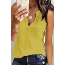 Summer Womens Simple Plain V-Neck Sleeveless Loose Fitted Knit Tank Top