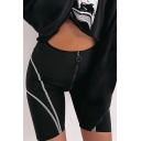 Summer Hot Fashion Simple Line Printed Black Zipper-Fly Skinny Fit Sport Biker Shorts