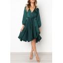 Womens Graceful Simple Plain Long Sleeve Surplice V-Neck Tied Waist Midi A-Line Flared Dress